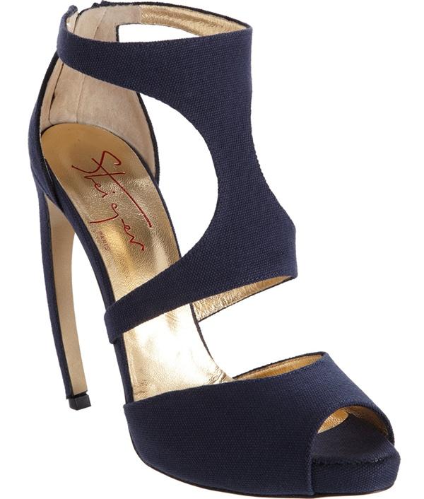 Walter Steiger Two-Piece Peep Toe Sandals in Navy