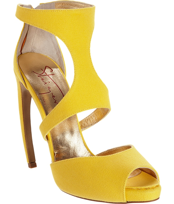 Walter Steiger Two-Piece Peep Toe Sandals in Yellow