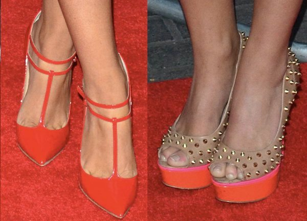 Jessica Wright and Gabriella Ellis showing off their feet in hot shoes