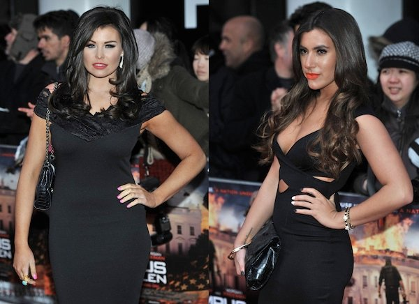 Jessica Wright and Gabriella Ellis posing alike at the UK Premiere of 'Olympus Has Fallen'