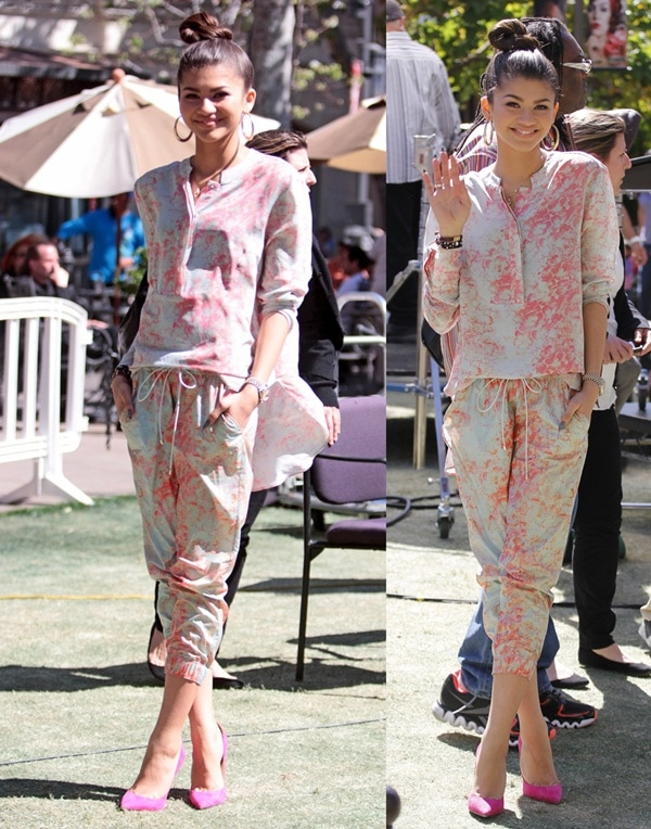 Zendaya let her youth shine in a fresh coral-printed Suno jumpsuit