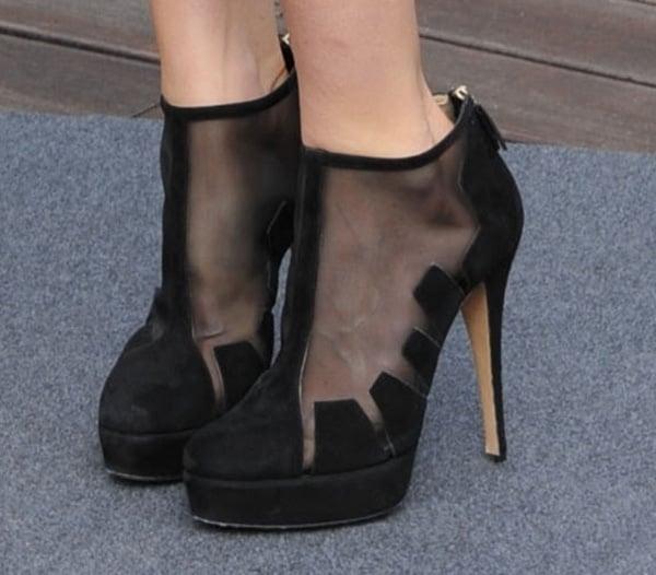 Alice Eve wearing Bionda Castana ankle boots
