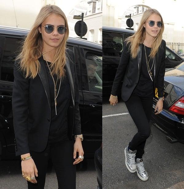 British model Cara Delevingne heading home after a Vogue seminar in London on April 27, 2013