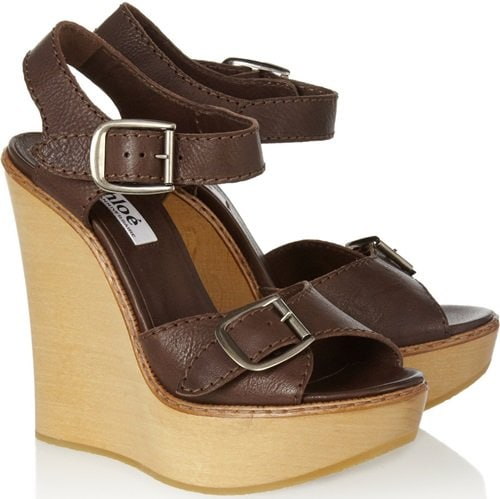 Chloé Leather and Wooden Wedge Sandals