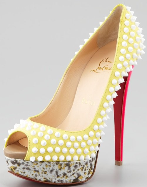 Christian Louboutin 'Lady Peep Spikes' Platform Pumps in Canary