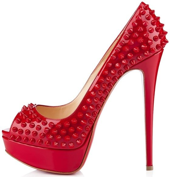 Christian Louboutin Lady Peep Spikes in Red