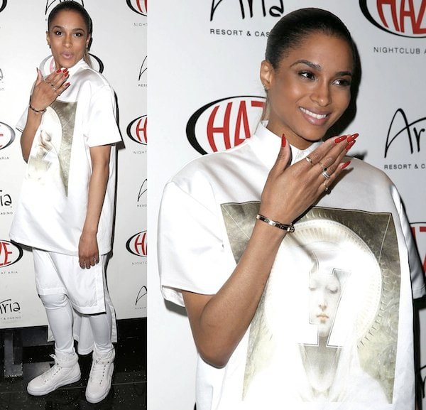 Ciara walking like a man in Givenchy Menswear Spring 2013 collection at Haze nightclub in Aria Resort and Casino, Las Vegas on March 28, 2013