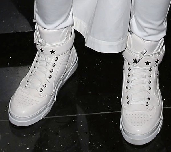 Ciara wearing white Givenchy high top sneakers