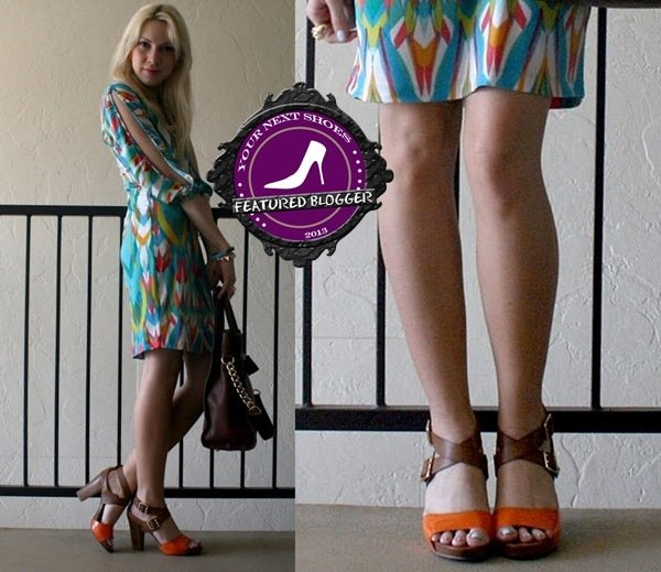 Ashley styled color-block sandals with a vintage dress