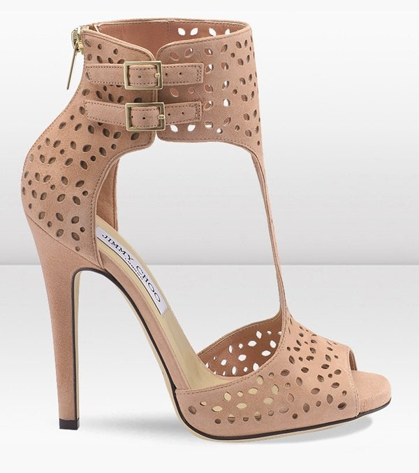 Jimmy Choo Tahi Blush Perforated Suede Sandal Booties