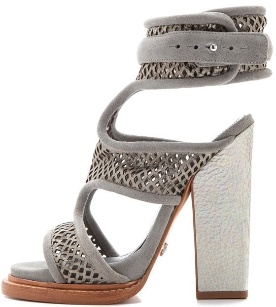 Monika Chiang Faiza Sandals in Gray Leather Mesh