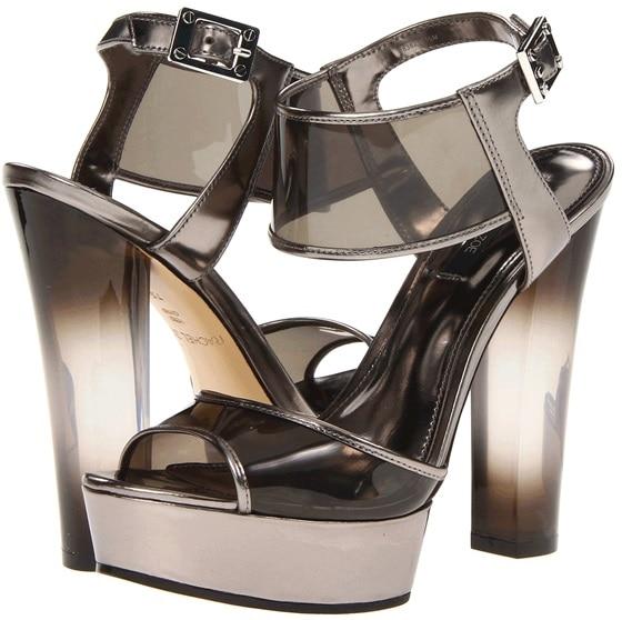 Anthracite Mirror Metallic Lexi Platform Sandals