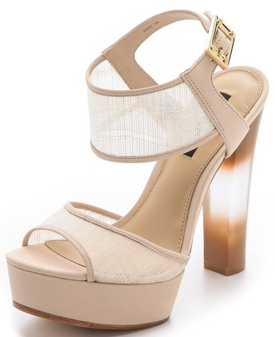 "Rachel Zoe ""Lexi"" Raffia Platform Sandals in Natural"