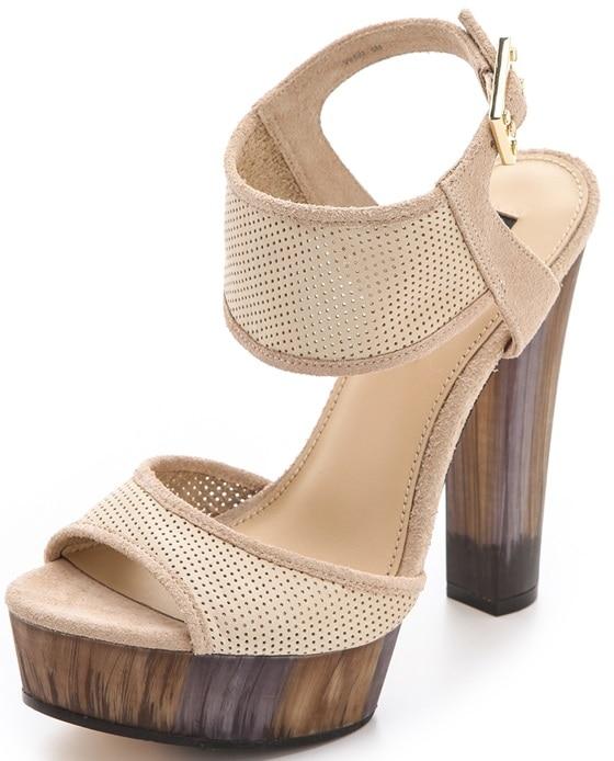 "Rachel Zoe ""Lexi"" Perforated Platform Sandals in Straw"