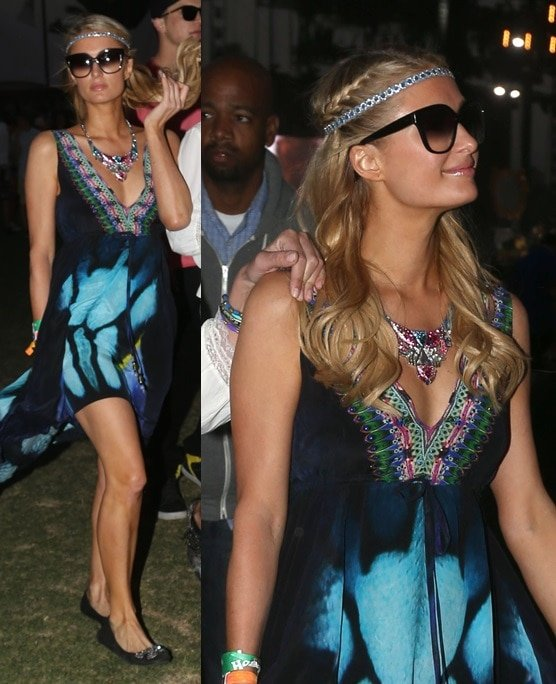 Paris Hilton wearing flats with her boho dresses at the Coachella Music Festival, April 12–14, 2013