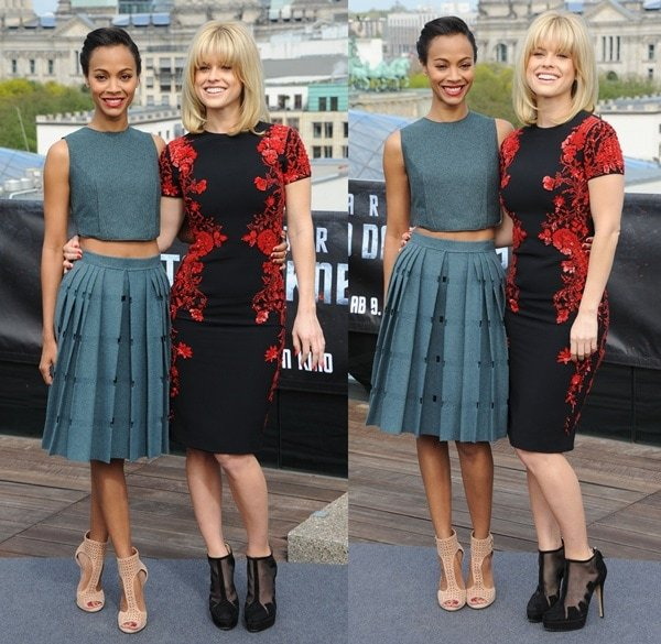 Zoe Saldana and Alice Eve at a photo call for 'Star Trek into Darkness' in Berlin on April 28, 2013