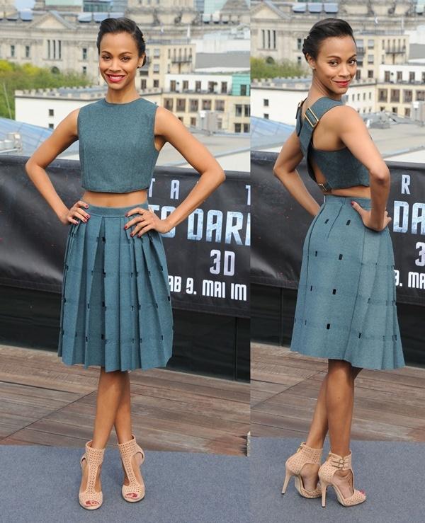 Zoe wore a midriff-baring Calvin Klein Collection ensemble