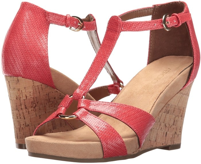 Aerosoles 'Plush Ahead' in Coral T-Strap Sandal