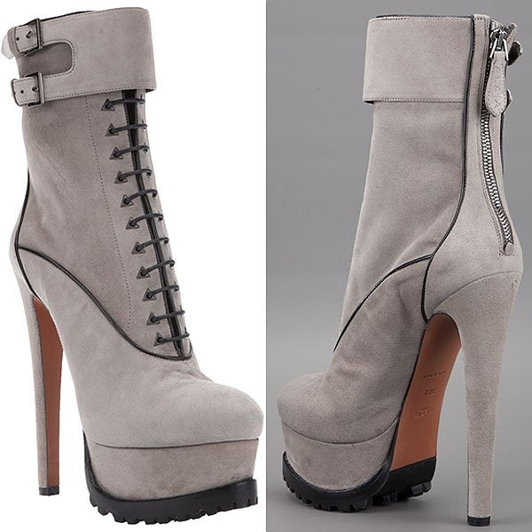Alaia Grey Chamois Leather Platform Boots