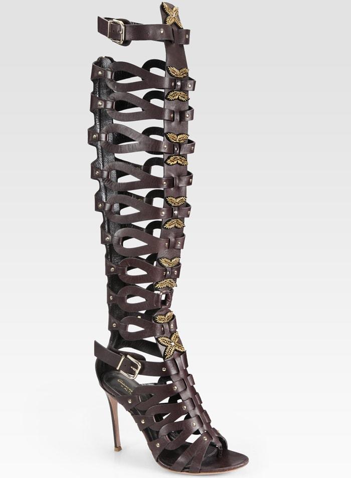 Altuzarra Leather Gladiator Over-the-Knee Boots in Mocha
