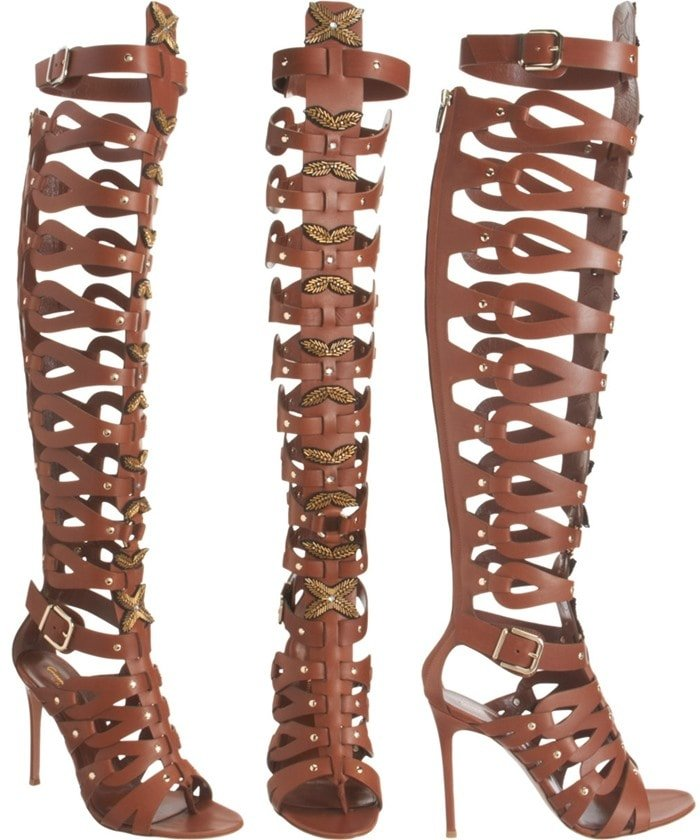 Altuzarra Leather Gladiator Over-the-Knee Boots in Light Brown