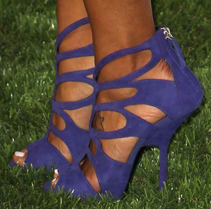 Angela Simmons wearing uber sexy Giuseppe Zanotti cutout sandals