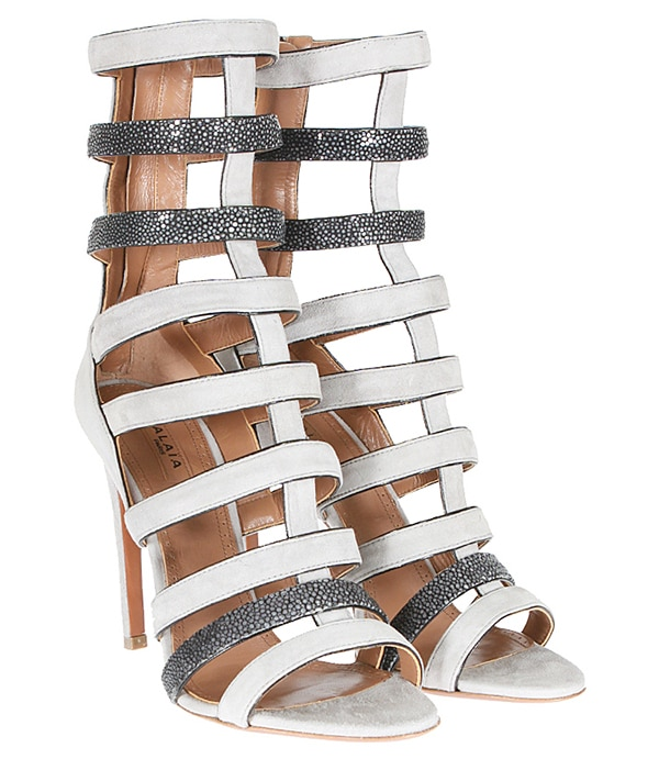 Azzedine Alaia Suede and Stingray Strappy Sandals in White
