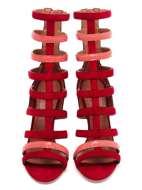 Azzedine Alaia Suede and Stingray Strappy Sandals