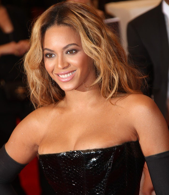 Beyoncé Giselle Knowles-Carter on the red carpet at the 2013 Met Gala held at the Metropolitan Museum of Art in New York City on May 6, 2013