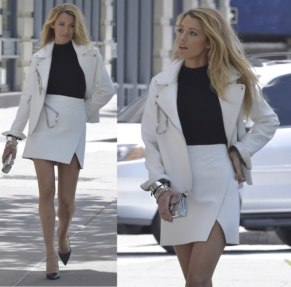 Blake was all smiles in a white wraparound skirt with a matching white jacket — probably because of her black snakeskin pumps