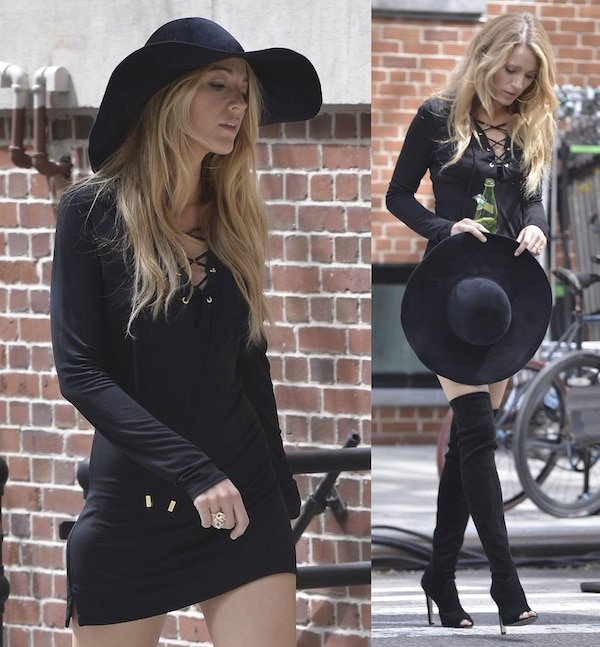 Blake looked super sexy in her fitted, long-sleeved, short black dress