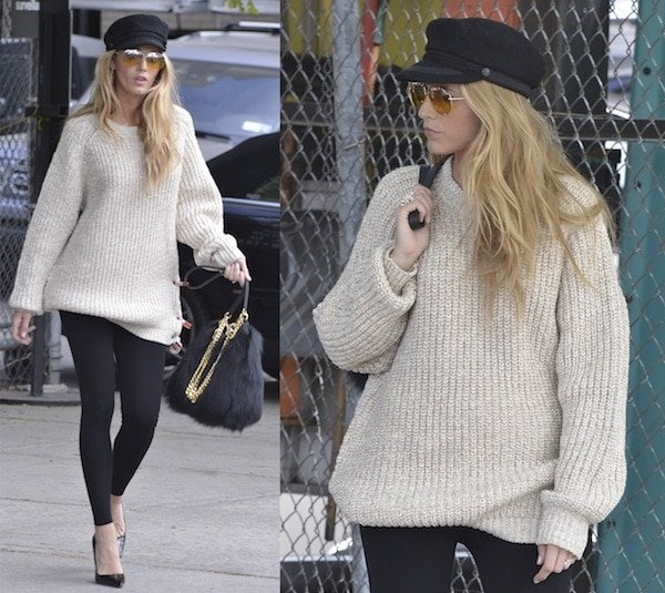 Blake Lively wore black leggings under an oversized beige jumper paired with classic patent leather pumps from Casadei