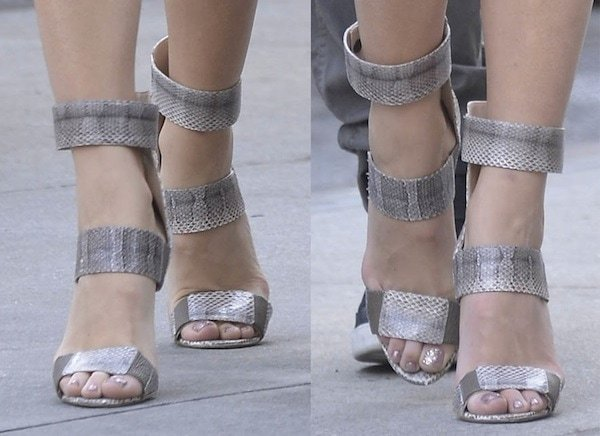 Blake Lively in snake-print sandals