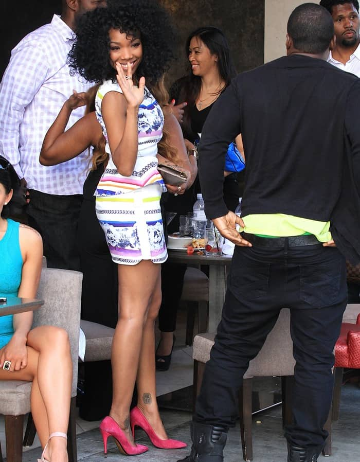 Brandy Norwood wearing a great Camilla and Marc dress