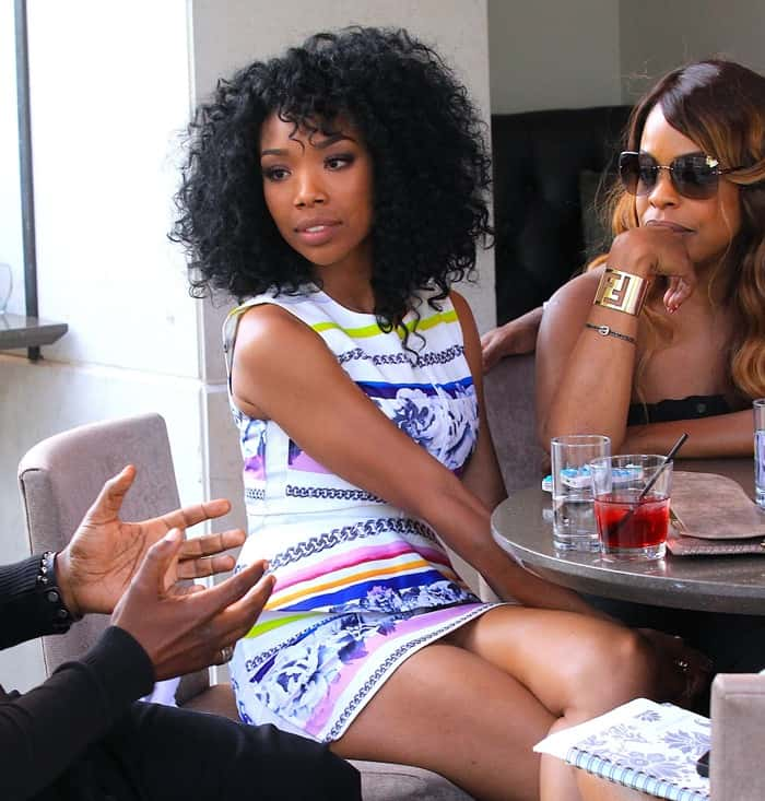 Brandy Norwood and Niecy Nash enjoying drinks outside Luxe Hotel on Rodeo Drive, Los Angeles on May 15, 2013