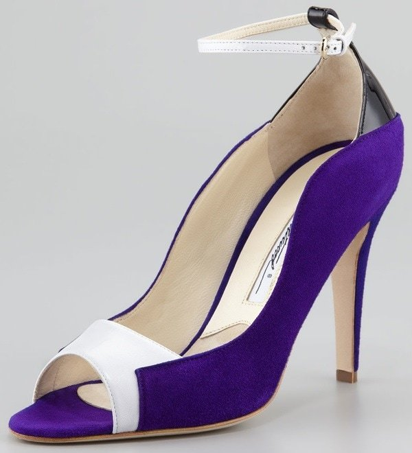"""Brian Atwood """"Evie"""" Contoured Suede Ankle-Wrap Pumps"""