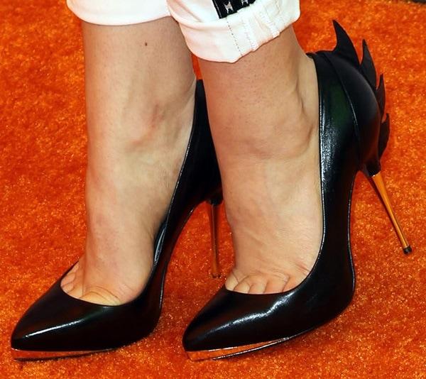 "Bridgit Mendler shows off her size 7 (US) feet in Monika Chiang ""Croc Mohawk"" pumps"