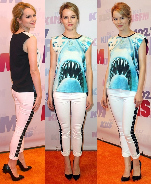 Bridgit Mendler styled a Maje top with Joe's jeans and black Monika Chiang heels
