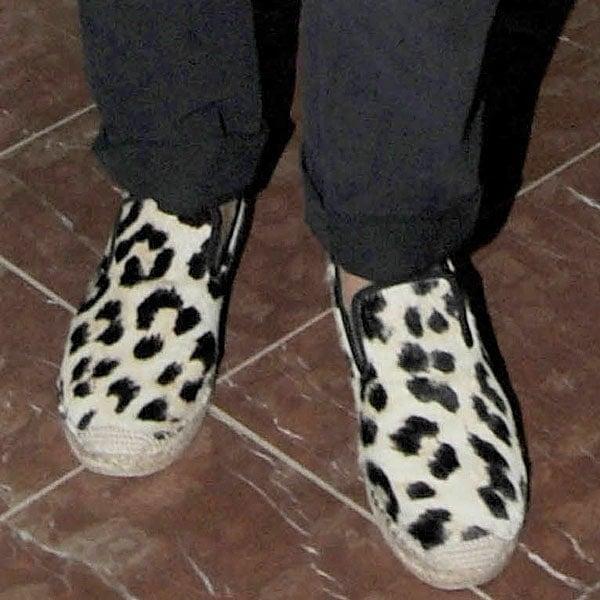 Cameron Diaz wearing leopard print slip-ons