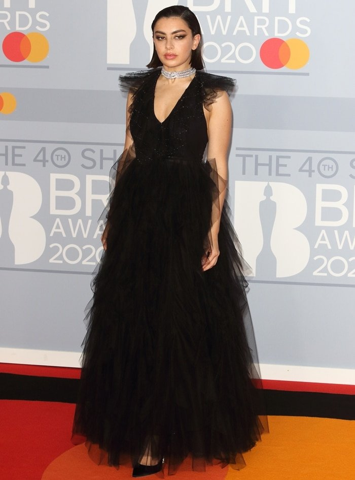 Charli XCX in a ruffled Fendi dress at the 40th BRIT Awards 2020