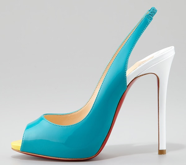 Christian Louboutin Flo Colorblock Patent Red Sole Slingback in Caraibes/Canari