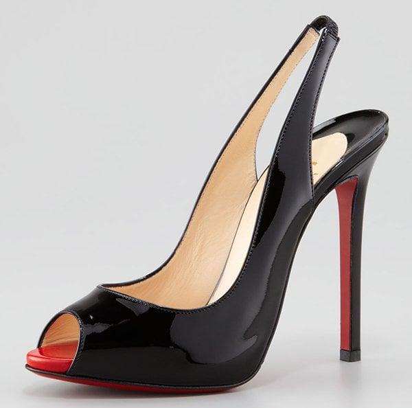Christian Louboutin Flo Patent Red Sole Slingback in Black