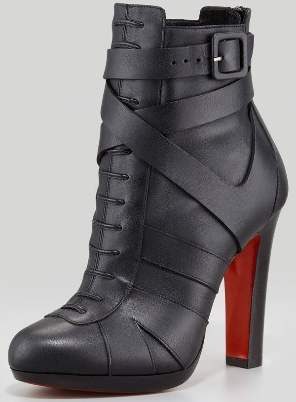 Christian Louboutin 'Lamu' Leather Lace-Up Platform Red-Sole Booties