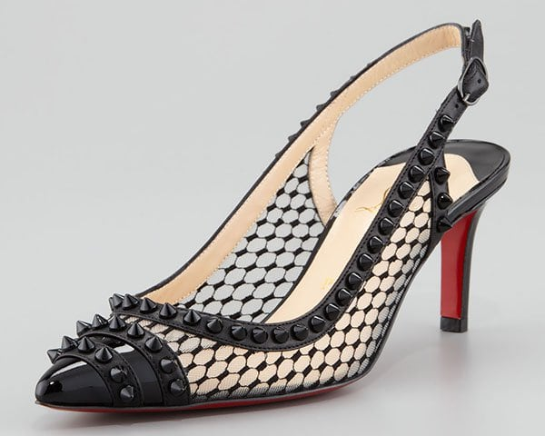 Christian Louboutin Manovra Spiked Lace Red Sole Slingback Pumps