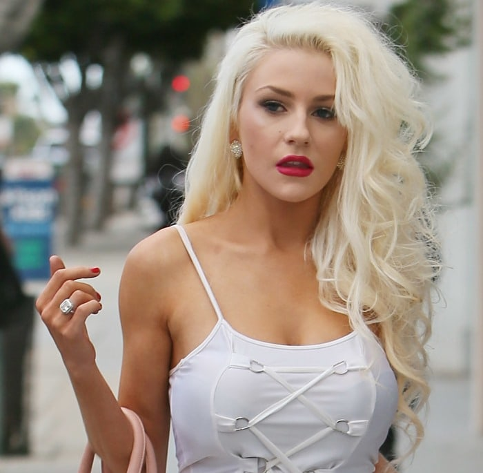 Courtney Stodden wearing a lace-up tank top