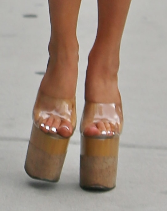 Courtney Stodden's sky-high heels with clear straps