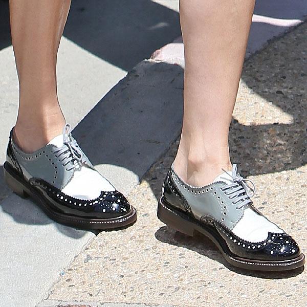 Diane Kruger wearing patent wingtip oxfords