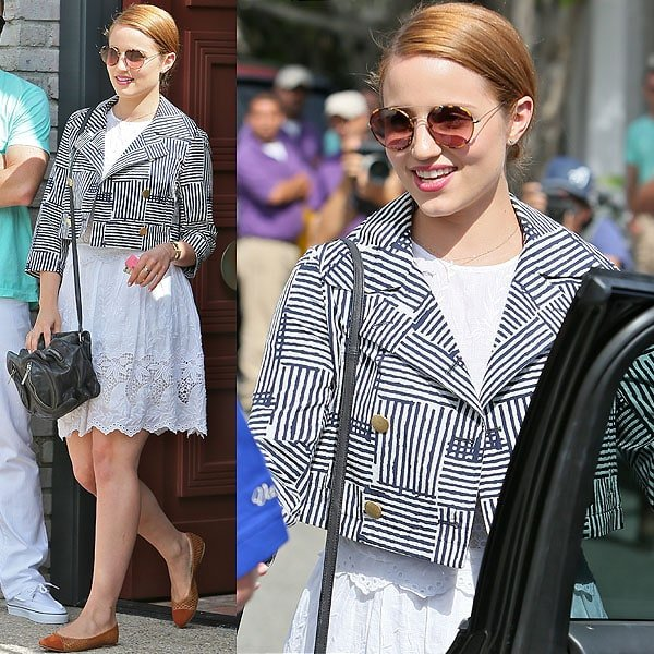 Dianna Agron arrives at producer Joel Silver's Memorial Day Party in Malibu, California, on May 27, 2013
