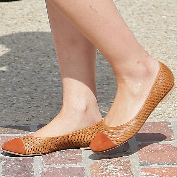 Dianna Agron wearing brown suede and leather ballet flats