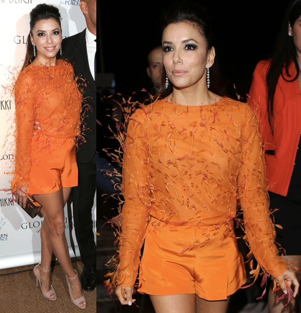 Eva Longoria in Brian Atwood's 'Evie' heels in nude paired with a bright orange feather-detailed top from Emilio Pucci with coordinating orange shorts